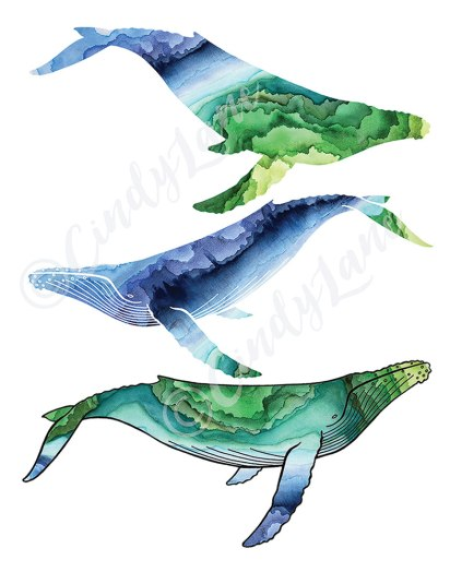 Three Watercolor Whales